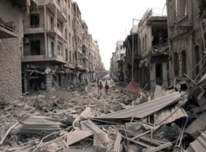شاب سوري يبعث رسائل أمل على ركام الحرب في حلب